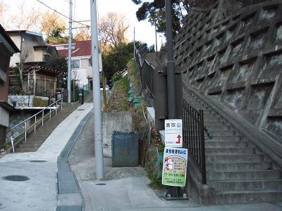 尾根へ登る階段